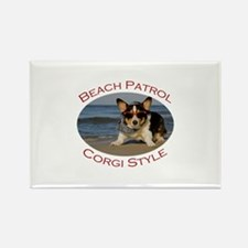 Beach Patrol Corgi Style Rectangle Magnet