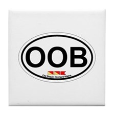 Old Orchard Beach ME - Oval Design. Tile Coaster