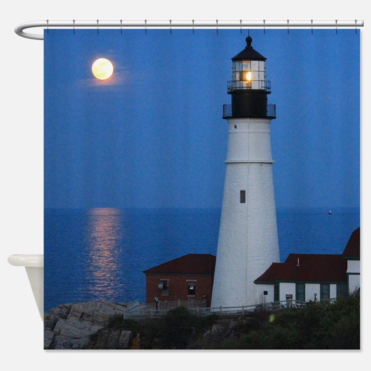 Super Moons Lighthouse View Shower Curtain