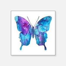 "Electric Blue Butterfly Square Sticker 3"" x 3"""