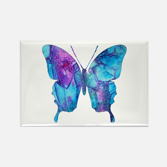 Electric Blue Butterfly Rectangle Magnet