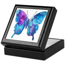 Electric Blue Butterfly Keepsake Box