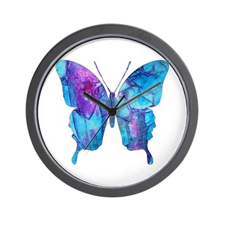 Electric Blue Butterfly Wall Clock