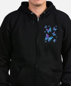 Electric Blue Butterfly Zip Hoodie (dark)