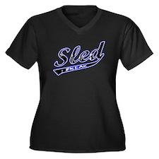 Sled Freak Women's Plus Size V-Neck Dark T-Shirt