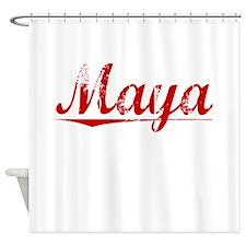 Maya, Vintage Red Shower Curtain