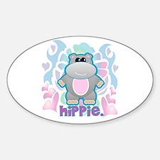 Retro Hippie Hippo Oval Decal