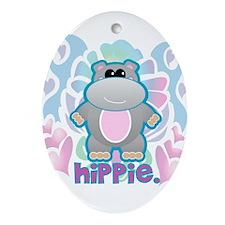 Retro Hippie Hippo Oval Ornament