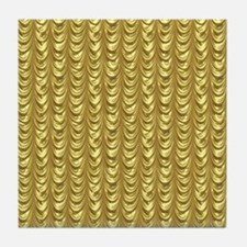 Gold Leaf Draping Curtain Pattern Tile Coaster