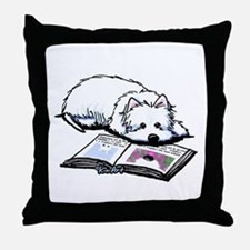 Book Lover Wendell Westie Throw Pillow