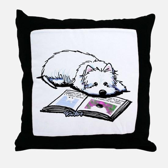 Book Lover Wendell Westie Throw Pillow