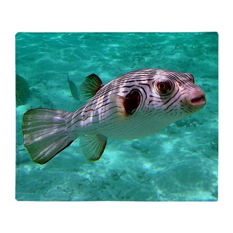 Striped Puffer Fish Throw Blanket