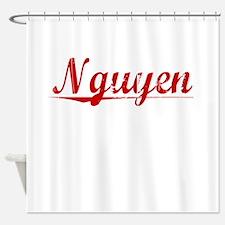 Nguyen, Vintage Red Shower Curtain