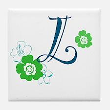 L Flowers Tile Coaster