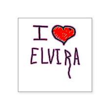 "i love Elvira on halloween Square Sticker 3"" x 3"""