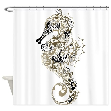 Paisley seahorse shower curtain by getyergoat