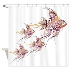 Whimsical Angelfish Shower Curtain