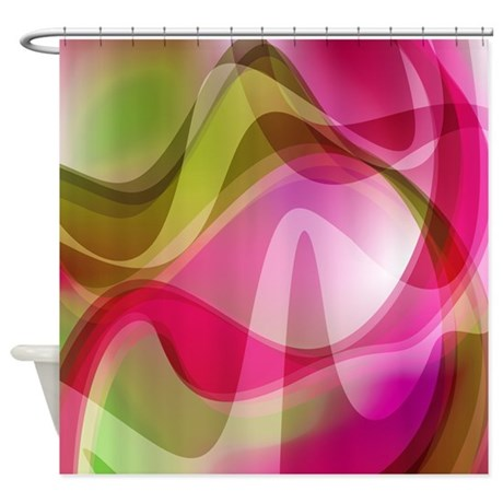 pink and green waves pattern shower curtain by getyergoat