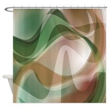 Muted Green Waves Shower Curtain