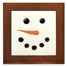 Cute Snowman Face Framed Tile