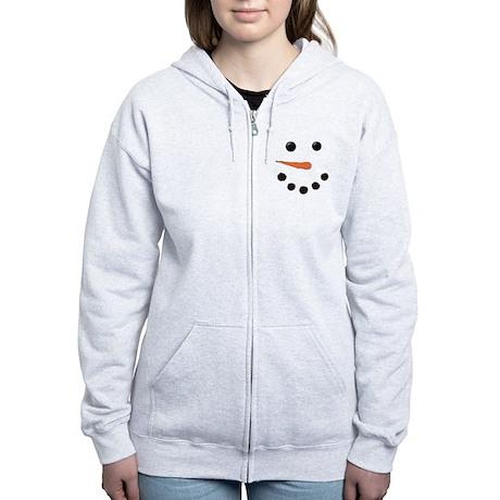 Cute Snowman Face Women's Zip Hoodie