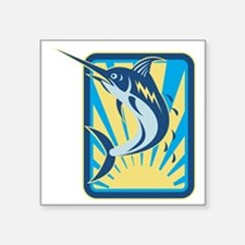 Blue Marlin Fish Jumping Retro Sticker