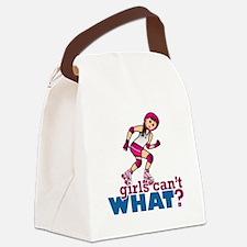 Pink Roller Derby Girl Canvas Lunch Bag