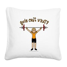 weightlifting-blonde.png Square Canvas Pillow