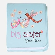 Big Sister Dragonfly Personalized baby blanket