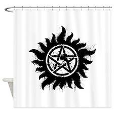 Anti-Possession Symbol Black (Splatter) Shower Cur