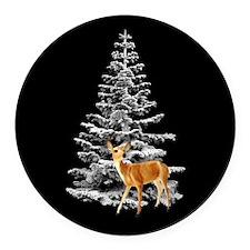 Deer Snowy Tree Round Car Magnet