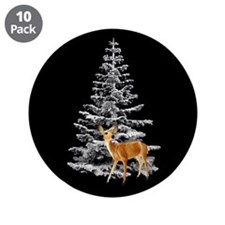 "Deer Snowy Tree 3.5"" Button (10 pack)"