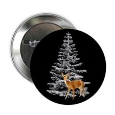 """Deer Snowy Tree 2.25"""" Button"""