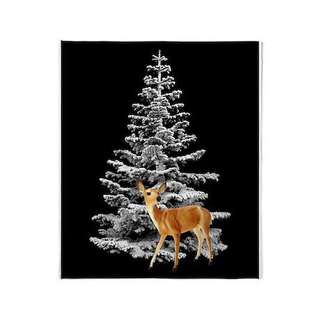 Deer Snowy Tree Throw Blanket
