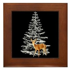 Deer Snowy Tree Framed Tile