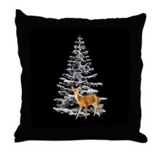 Deer Snowy Tree Throw Pillow