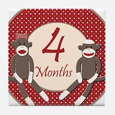 Sock Monkey 4 Months Milestone Tile Coaster