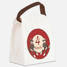 Sock Monkey 4 Months Milestone Canvas Lunch Bag
