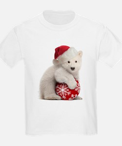 Polar Bear Cub Kids Christmas T-Shirt