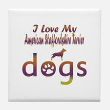 American Staffordshire Terrier designs Tile Coaste