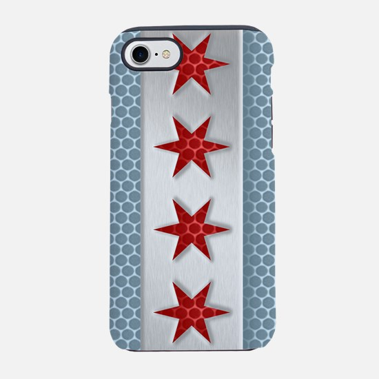 Chicago Flag Metal Look iPhone 7 Tough Case
