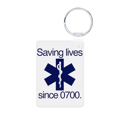 Saving lives since 0700. Aluminum Photo Keychain