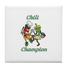 Dancing Chilis Chili Champion Tile Coaster