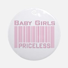 Pink Baby Girls Priceless New Mom Ornament (Round)