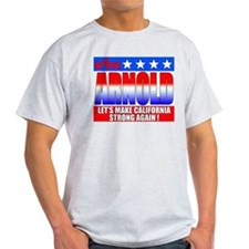 ARNOLD Schwarzenegger Vote Arnold Ash Grey T Shirt