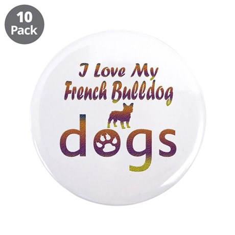 """French Bulldog designs 3.5"""" Button (10 pack)"""