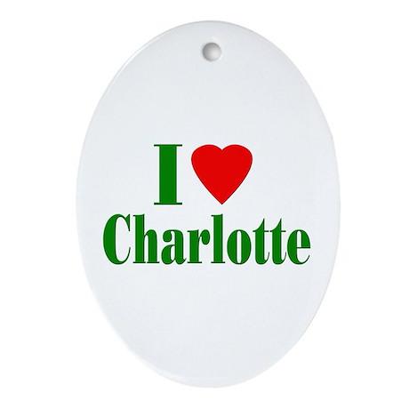 I Love Charlotte Oval Ornament