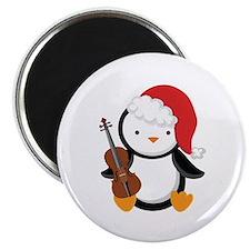 Violin Christmas Penguin Magnet
