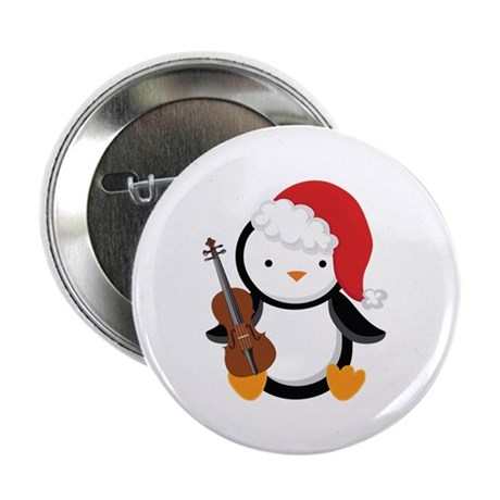 "Violin Christmas Penguin 2.25"" Button (10 pack)"