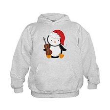 Violin Christmas Penguin Hoodie